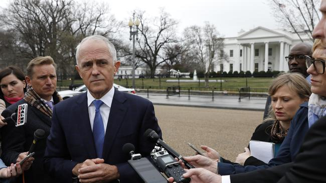 Malcolm Turnbull repeatedly dodged questions about Barnaby Joyce outside the White House. Picture: AAP Image/Yuri Gripas