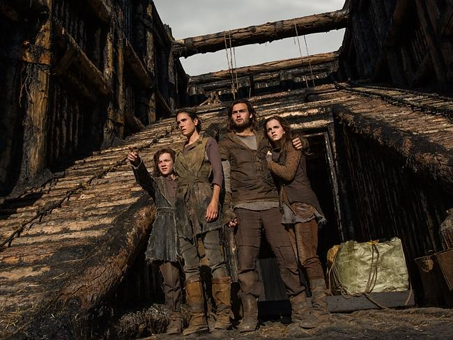 (Left to right) Leo McHugh Carroll is Japheth, Jennifer Connelly is Naameh, Douglas Booth
