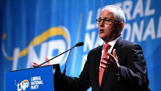 Prime Minister Malcolm Turnbull speaks at the Liberal National Party conference in Brisbane yesterday. Picture: Dan Peled/AAP