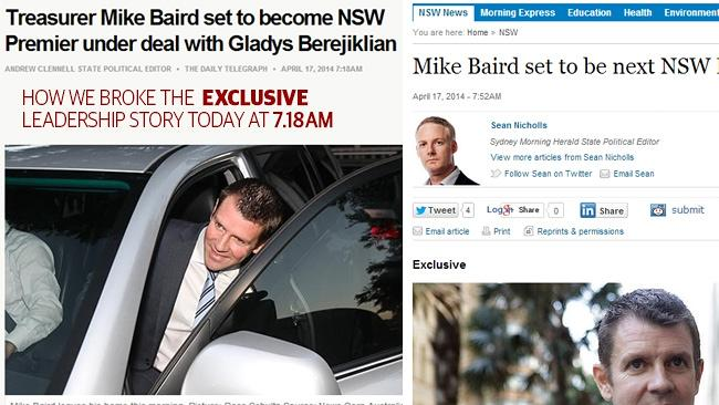 How we broke the story online at 7.18am (left) and (right) the SMH claiming the story as an exclusive at 7.52am.