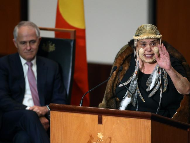 Ngunnawal Leader Tina Brown welcomes everyone back to Parliament. Picture: Gary Ramage