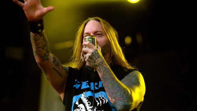 Devildriver performing at Soundwave 2014. Picture: Noelle Bobrige