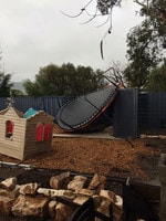 Damage to a backyard in Blyth. Picture: Allison Mason/Plains Producer Newspaper