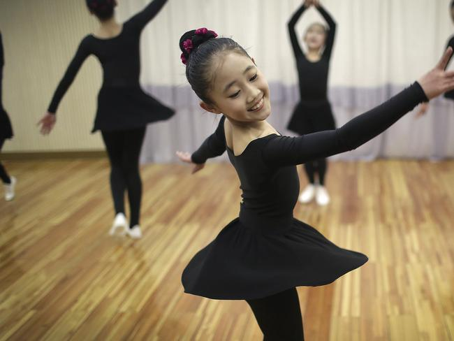 North Korean schoolgirls attend a dance class in Pyongyang. Picture: AP