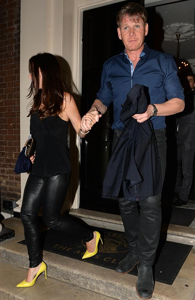 Gordon Ramsey was looking rough as he emerged from the club with his wife.
