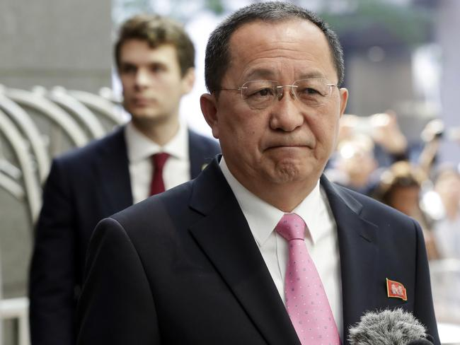 North Korea's Foreign Minister Ri Yong-ho accused Mr Trump of 'setting a fuse of war' with his September speech at the United Nations. Picture: Richard Drew/AP