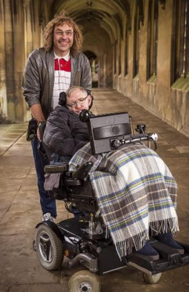 "Stephen Hawking with David Walliams' ""Lou"" on Little Britain. Picture: BBC"