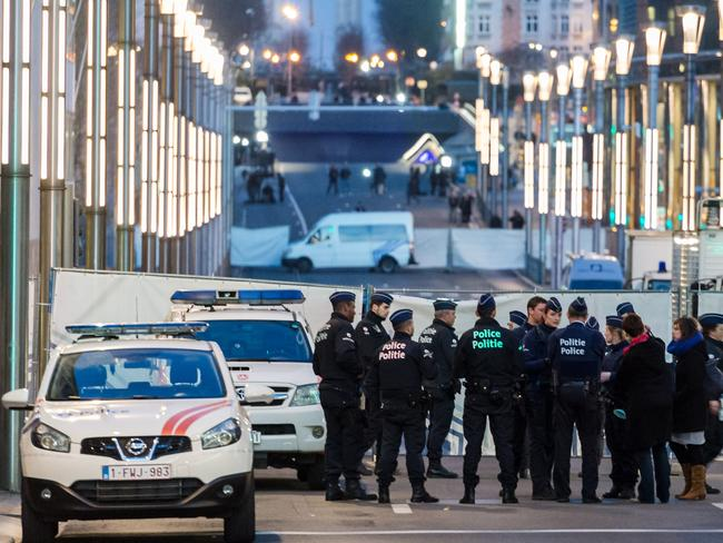 Police outside a metro station in Brussels after last night's terrorist attacks in Brussels. Picture: AP/Geert Vanden Wijngaert
