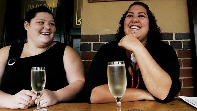 Donovan (right) celebrates her 18th birthday with her friend Jade Canavagh in 2006. Cavanagh was also moonlighting as Donovan's on-off boyfriend for six-years. Picture: Tracey Nearmy