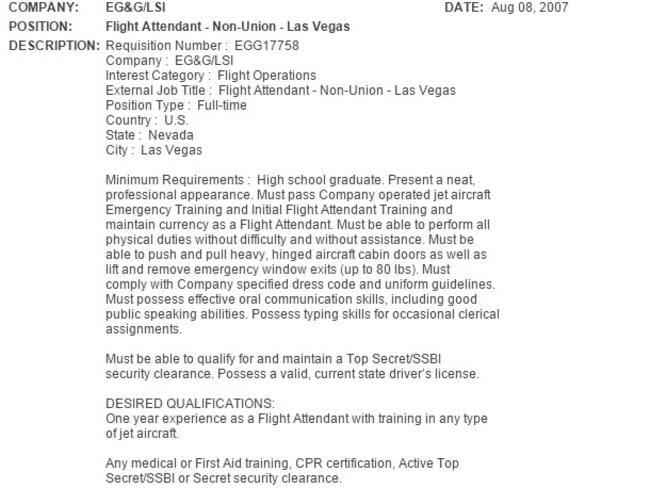 A 2007 job advertising flight attendants for Janet.