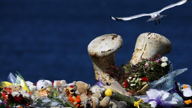The scene on the Port Lincoln wharf where Damien Little drove into the sea to claim his own life and that of his two young boys, Koda and Hunter. Picture: Dean Martin