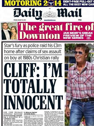Front page news ... Sir Cliff Richard's statement gets centre stage.