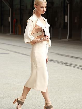 Natalie Cantell wearing an outfit by Ginger & Smart at Mercedes-Benz Fashion Week Australia 2014.