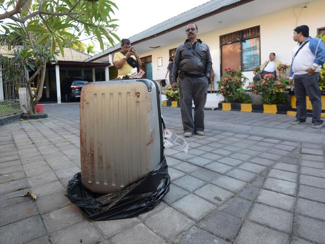 Gruesome discovery ... the suitcase where Sheila von Wiese Mack's body was found.