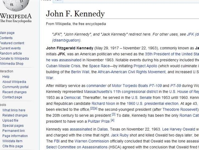Vandalism ... The entry for John F. Kennedy was also altered. Picture: Wikipedia