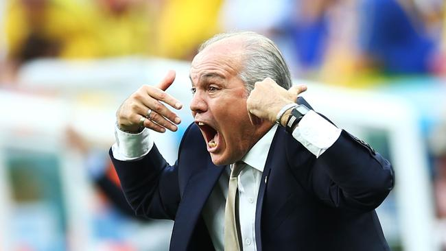 Head coach Alejandro Sabella of Argentina gestures during Sunday's game.