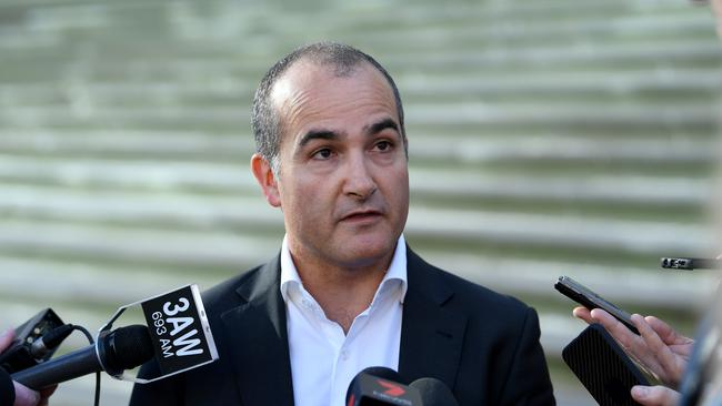 Deputy Premier and Minister for Education James Merlino holds a media doorstop outside Parliament House in Melbourne. Picture: AAP/Joe Castro