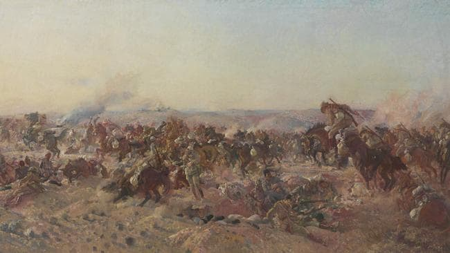 George Lambert's painting  The Charge of the Australian Light Horse at Beersheba is an old-style celebration of an old-style battle, and looks to the memory of a chivalry that was being lost.