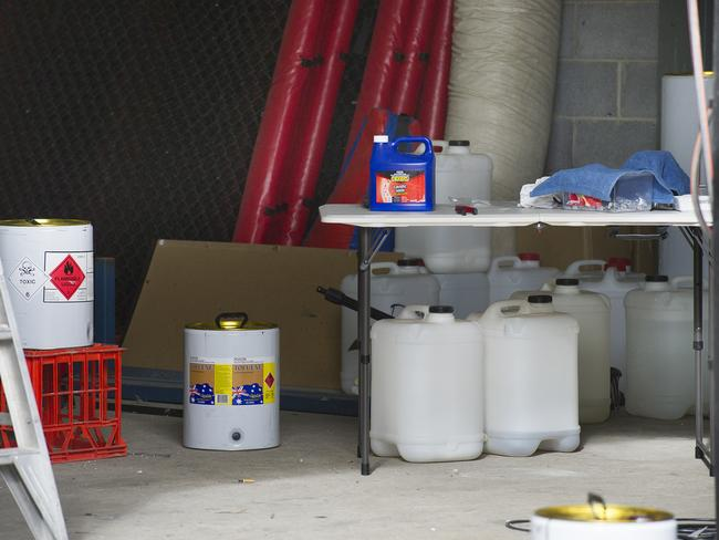 The unit contained a variety of chemical solvents that can be bought at local hardware shops.