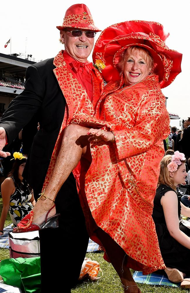 Melbourne Cup. 2015. Liam and Annie McKernan dress in matching outfits. Picture: Jake Nowakowski
