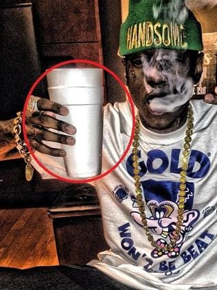 "Rapper Soulja Boy shows off his ""double cup"" which is likely to contain Sizzurp in an Instagram post."