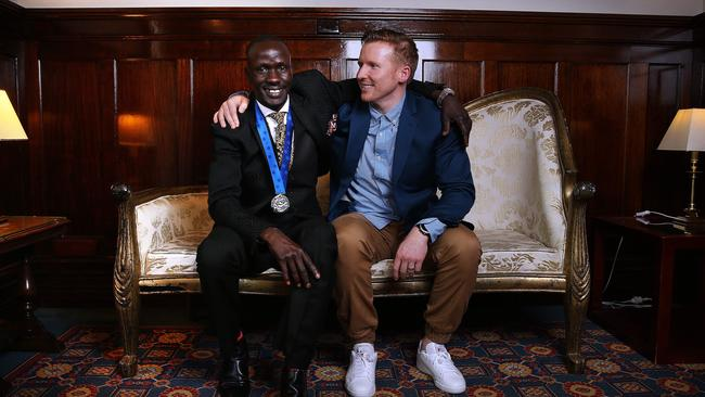 Amazing story... Deng Adutwith reunited with old mate Paul Hicherson yesterday.