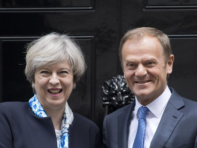 British Prime Minister Theresa May with European Council President Donald Tusk earlier this month AFP PHOTO / Justin TALLIS
