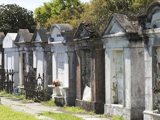 New Orlean, USA - March 27, 2015: Row of old tombs and crypts at Historical New Orleans Lafayette Cemetery