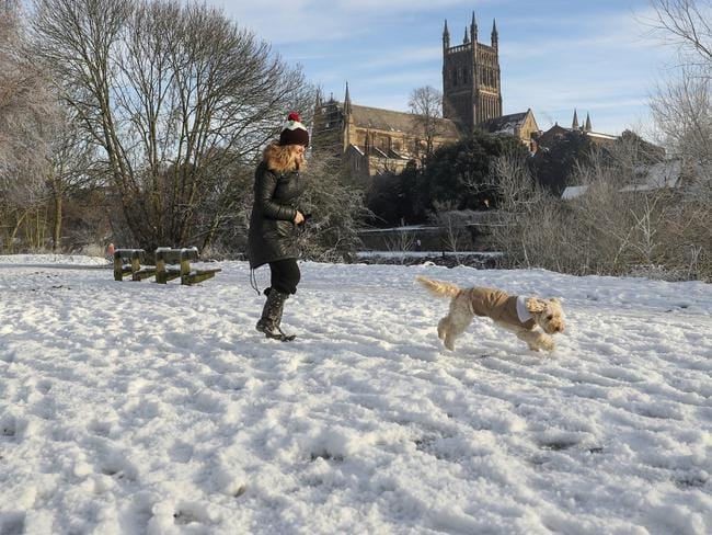 Much of Britain has been blanketed in snow, matched with plunging temperatures. Picture: David Davies/PA via AP