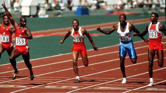 1988 Olympic Games 100m final: Ben Johnson (far left), Carl Lewis and Linford Christie (blue running shorts). Popperfoto