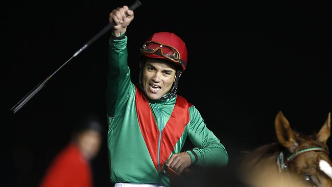 Joel Rosario on Animal Kingdom celebrates after winning the $10 million Dubai World Cup. The 2011 Kentucky Derby winner beat Red Cadeaux by two lengths while another English-trained runner Planteur was third. Picture: Karium Sahib