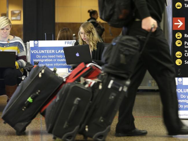 The first travel ban caused chaos at US airports. Picture: Ted S. Warren/AP