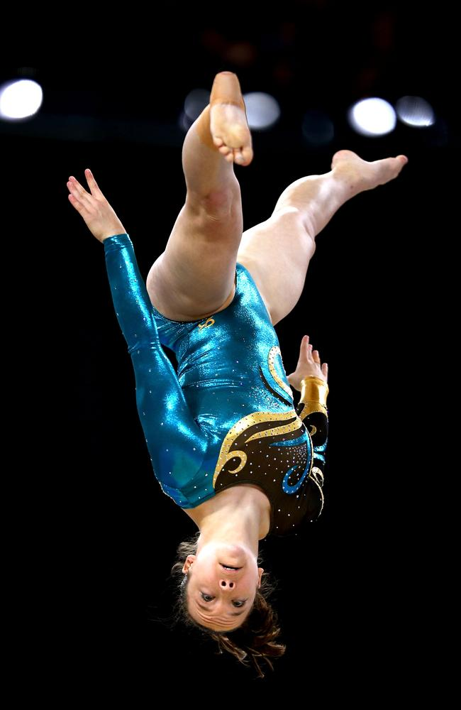 Silver medallist Mary Anne Monckton of Australia competes in the women's beam final.