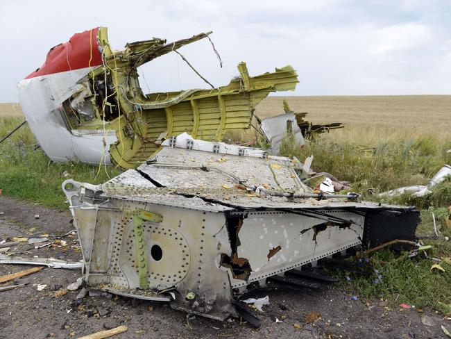Protect the crash site ... Debris lies at the site of the crash of the Malaysia Airlines plane in Grabove, in rebel-held east Ukraine. Pic: ALEXANDER KHUDOTEPLY