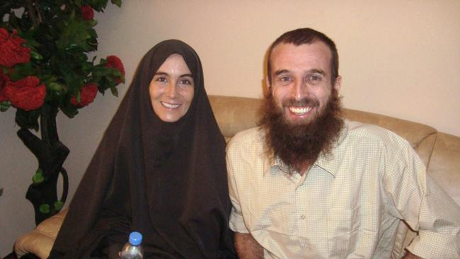 Freed hostages Amanda Lindhout and Australian Nigel Brennan, in a Mogadishu hotel.