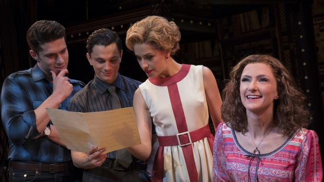 Josh Piterman (as Gerry Goffin), Mat Verevis (Barry Mann), Amy Lehpamer (Cynthia Weil) and Esther Hannaford (Carole King) in Beautiful: The Carole King Musical.