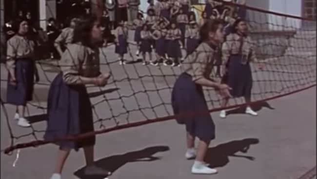 Once, money was diverted to education instead of war. Volleyball was apparently part of the curriculum.