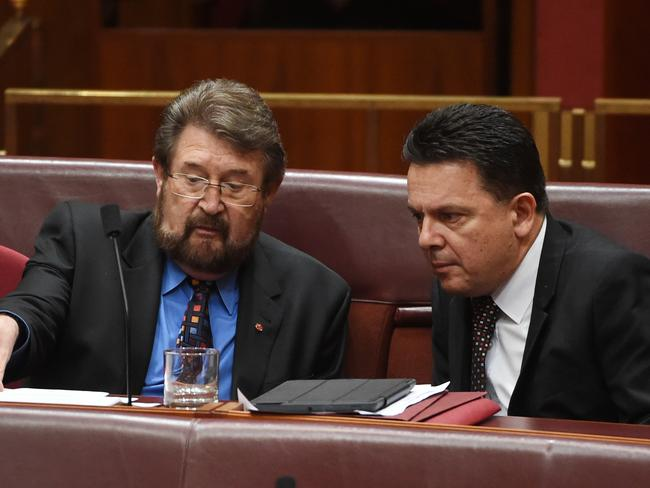 Senator Derryn Hinch and Senator Nick Xenophon are backing the Australian Building and Construction Commission Bill with amendments. Picture: AAP Image/Mick Tsikas
