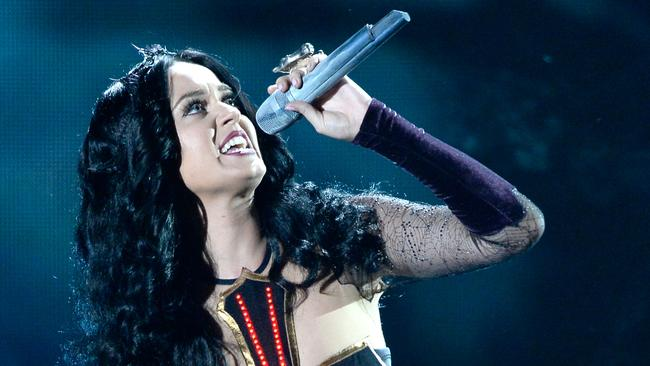 Controversial ... Katy Perry performs Dark Horse at this year's Grammy Awards.