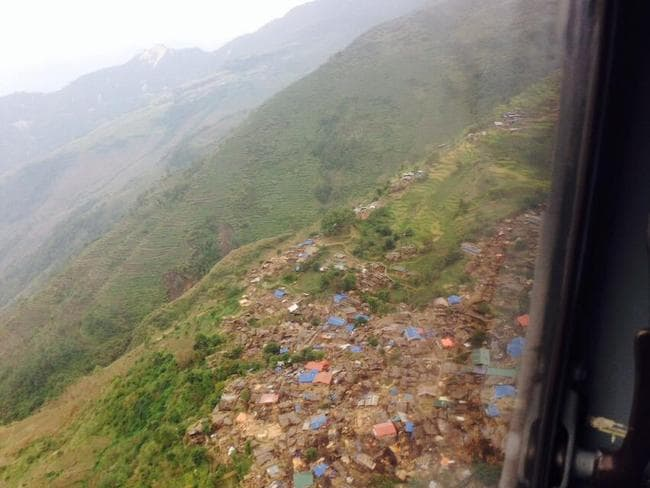 Decimated ... this aerial photo shows a whole village demolished following the Nepal earthquake. Picture: Facebook/Dr Baburam Bhattarai