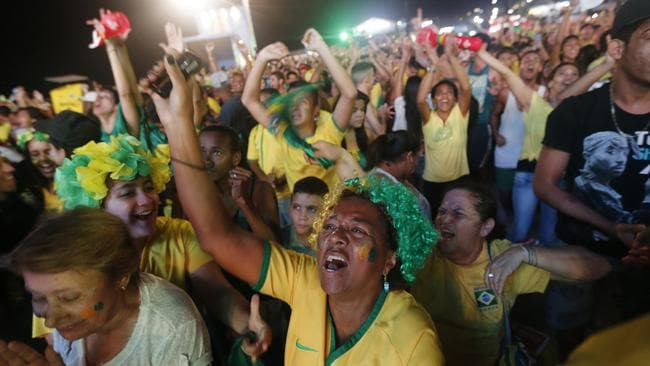 Brazil soccer fans at the FIFA Fan Fest area on Copacabana beach, in Rio de Janeiro.