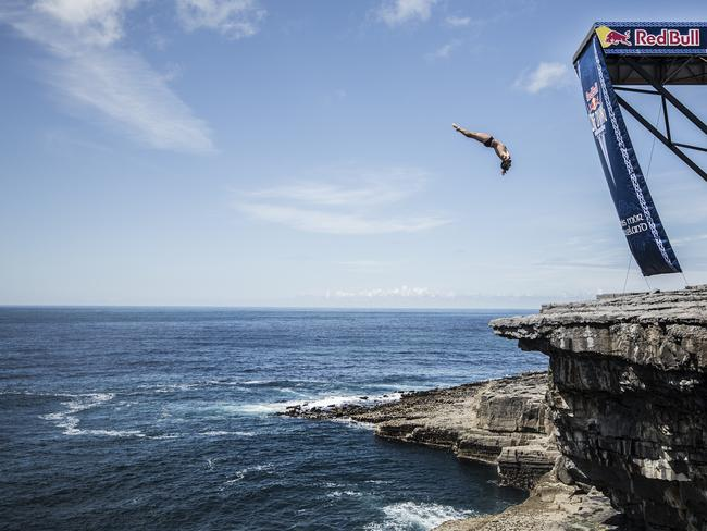 Let's hope he had the luck of the Irish in this jump off Inis Mor in Ireland. Picture: Red Bull.