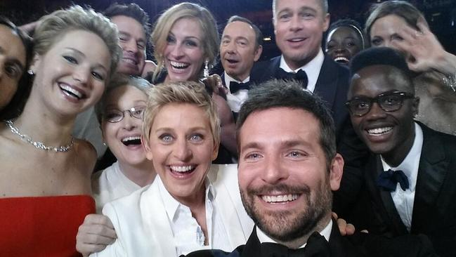 Selfie fan ... Academy Awards host Ellen DeGeneres takes a selfie with (clockwise from L-R) Jared Leto, Jennifer Lawrence, Channing Tatum, Meryl Streep, Julia Roberts, Kevin Spacey, Brad Pitt, Lupita Nyong'o, Angelina Jolie, Peter Nyong'o Jr. and Bradley Cooper. Pic: by Ellen DeGeneres/Twitter