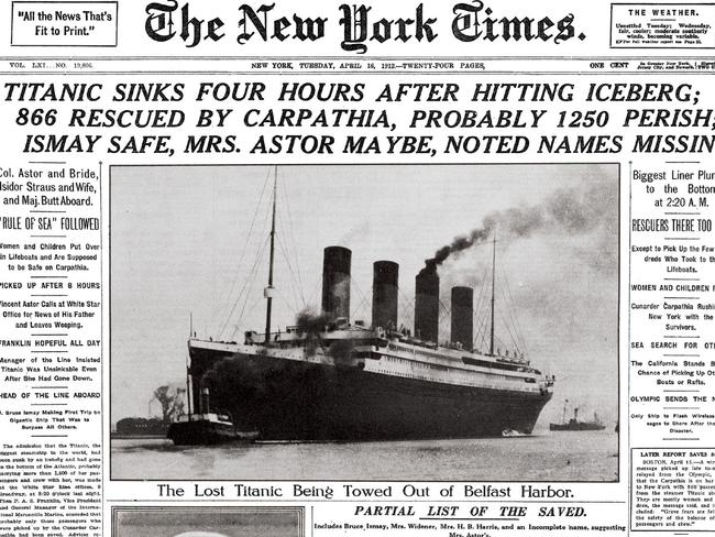 The New York Times' April 16, 1912 front page coverage of the Titanic disaster. Picture: AP/The New York Times