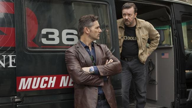 Bana (right) and Ricky Gervais are a classic odd couple in the Gervais written and directed Netflix movie  <i>Special Correspondents</i>.