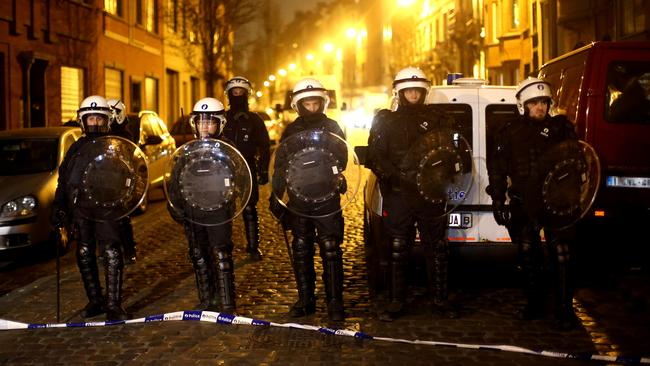 Police patrolling Molenbeek on March 18. It's long been known to house disaffected Muslim youth. Picture: Carl Court/Getty Images