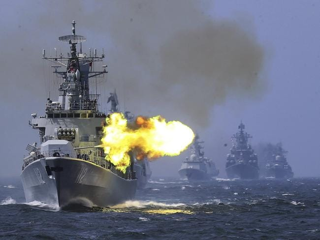 A Chinese guided missile destroyer takes part in a week-long China-Russia navy exercise. Annual percentage increases in China's defence budget have been fuelling a top-to-bottom modernisation drive that has brought in new equipment and vast improvements in living conditions for the People's Liberation Army's 2.3 million members. Picture: China Colour
