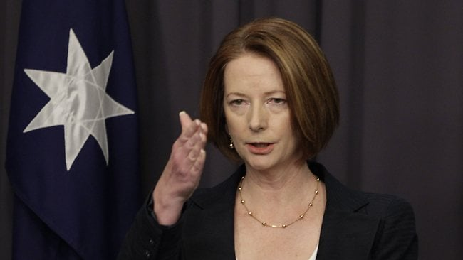 Prime Minister Julia Gillard announces the royal commission in Canberra. Picture: Ray Strange