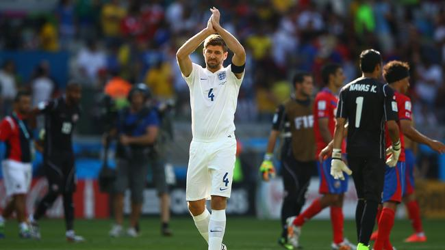 Steven Gerrard of England says goodbye after his final England game.