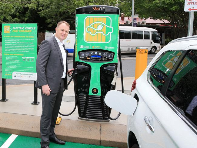 Energy Queensland's Charles Rattray helped launch the first fast-charging station for the world's longest electric super highway in one state — at The Esplanade in Cairns. Picture: Justin Brierty